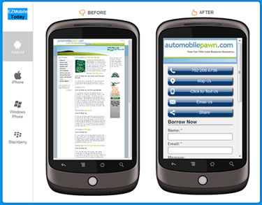 Before and After Mobile Phone Friendly Web Site