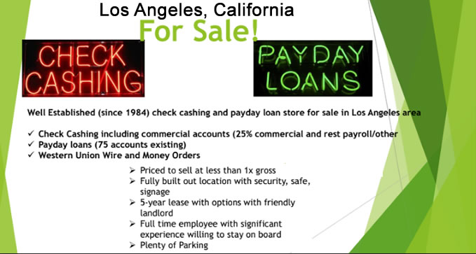 Los Angeles Check Cashing-Payday Loan Store for Sale