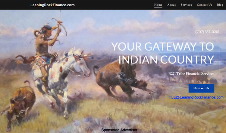 """Leaning Rock Finance offers a suite of legal infrastructure and """"Lending Regulatory Odinances"""" enabling your team to transition to online consumer lending in combination with a federally recognized Native Anmerican Indian Tribe."""